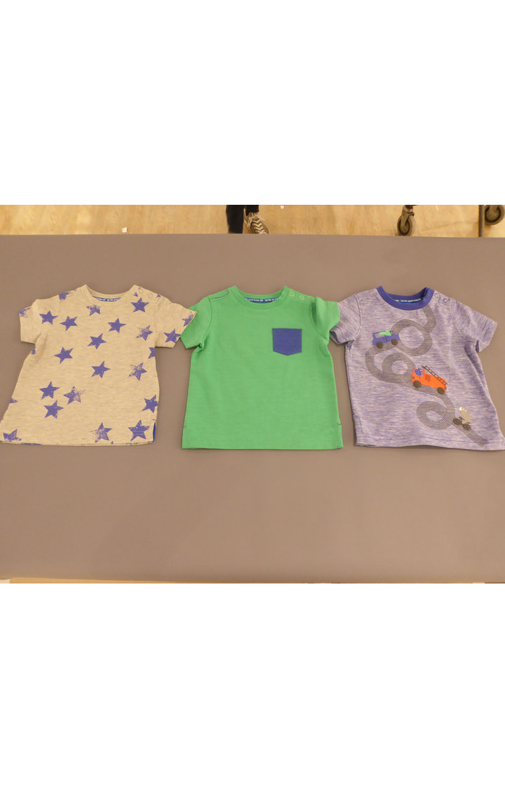 Mothercare | Grey, Green and Blue Printed T-Shirt - Pack of 3