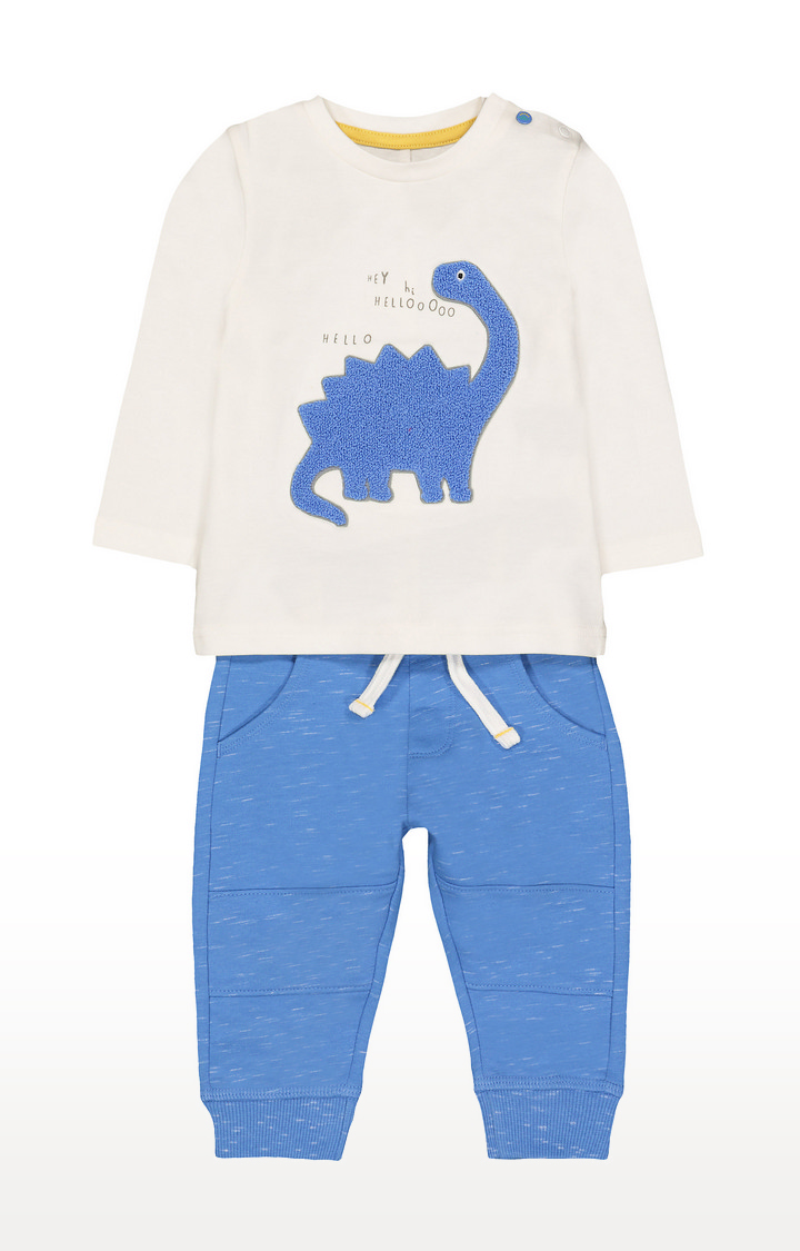 Mothercare | White & Blue Printed Twin Set