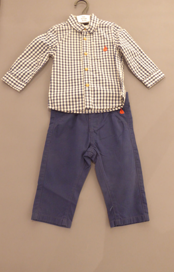 Mothercare | Navy Checked Twin Set