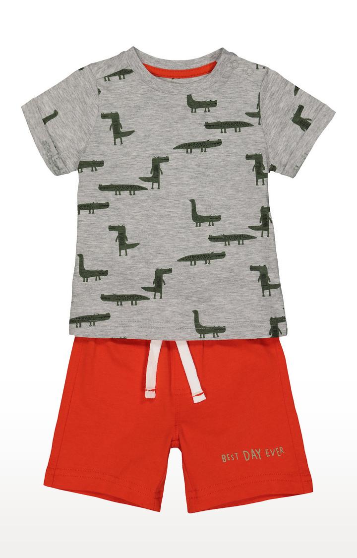 Mothercare | Grey and Orange Printed Twin Set