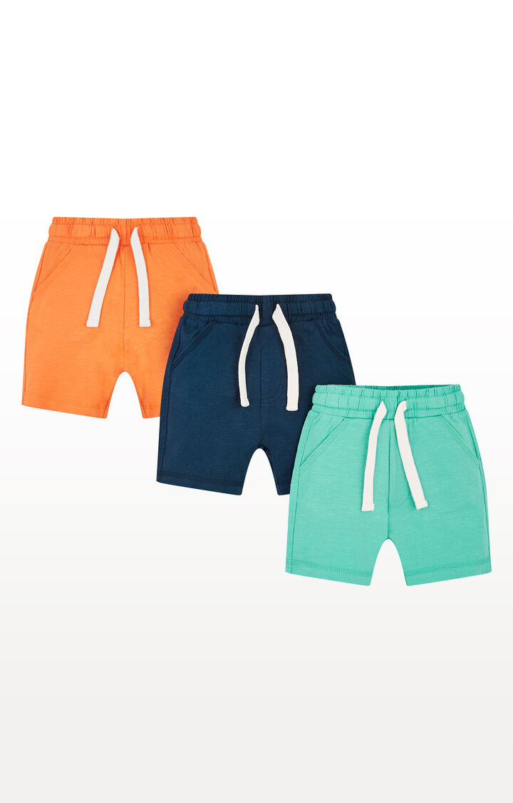 Mothercare | Navy, Orange and Turquoise Shorts  Pack of 3