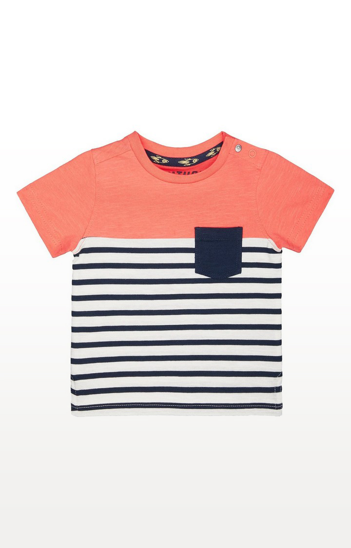 Mothercare   Coral Striped Pocket T-Shirt