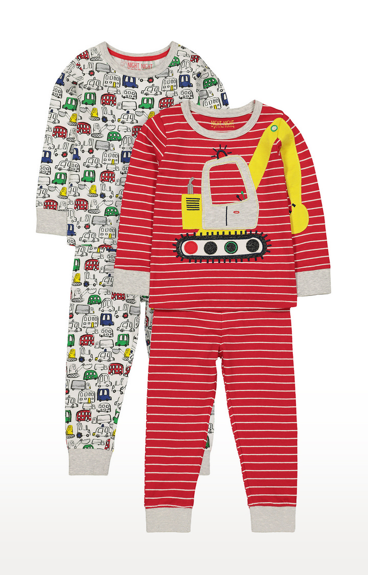 Mothercare   Multicoloured Printed Nightsuit - Pack of 2