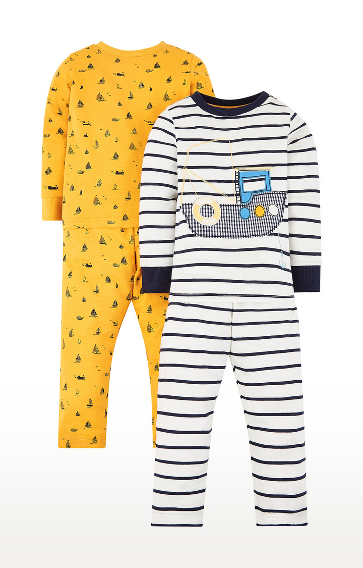 Mothercare | White and Yellow Printed Nightsuit - Pack of 2