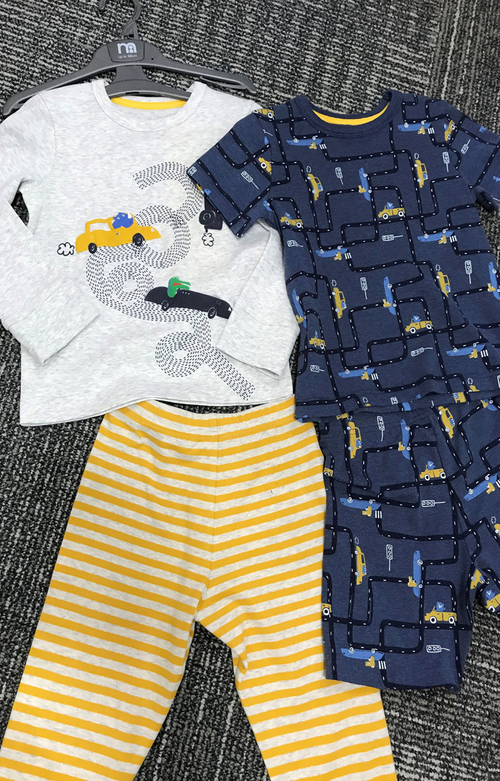 Mothercare | Light Grey and Blue Printed Nightsuit - Pack of 2