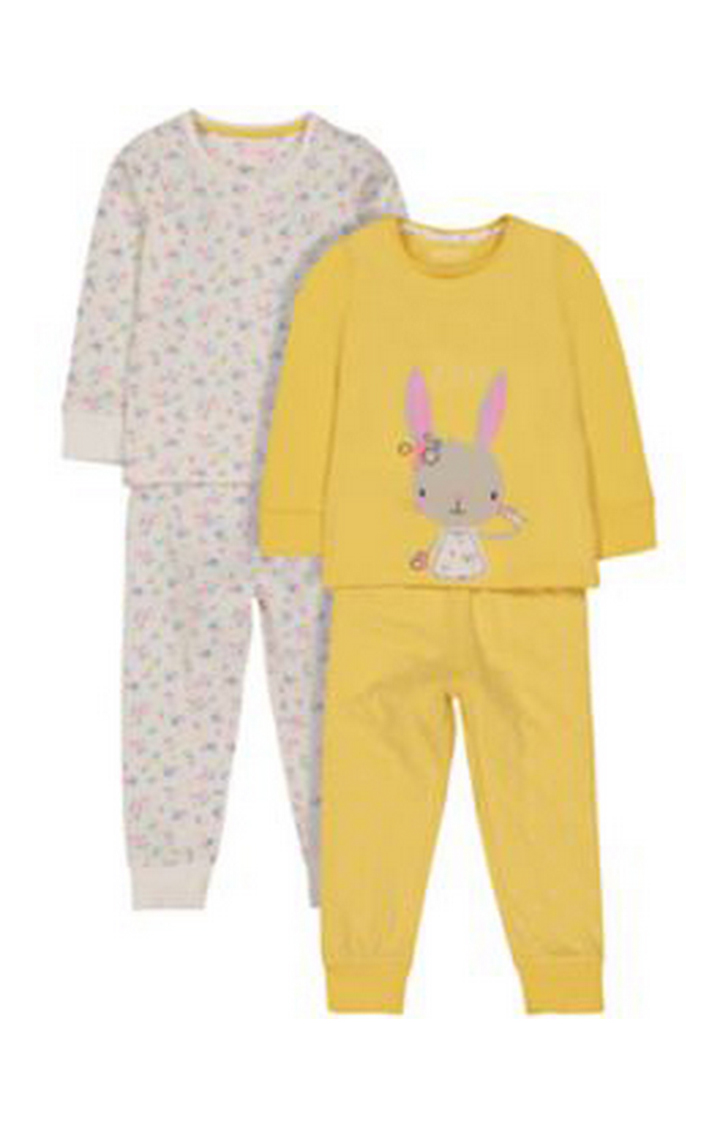 Mothercare | Off White and Yellow Printed Nightsuit - Pack of 2