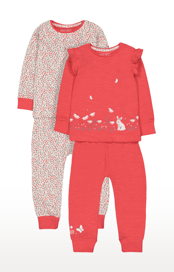 Mothercare | Orange and Off White Printed Nightsuit - Pack of 2