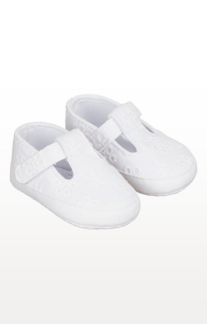 Mothercare | White Broderie T-Bar Pram Shoes