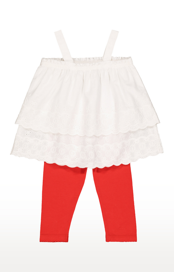 Mothercare   White Broderie Top and Red Leggings Set