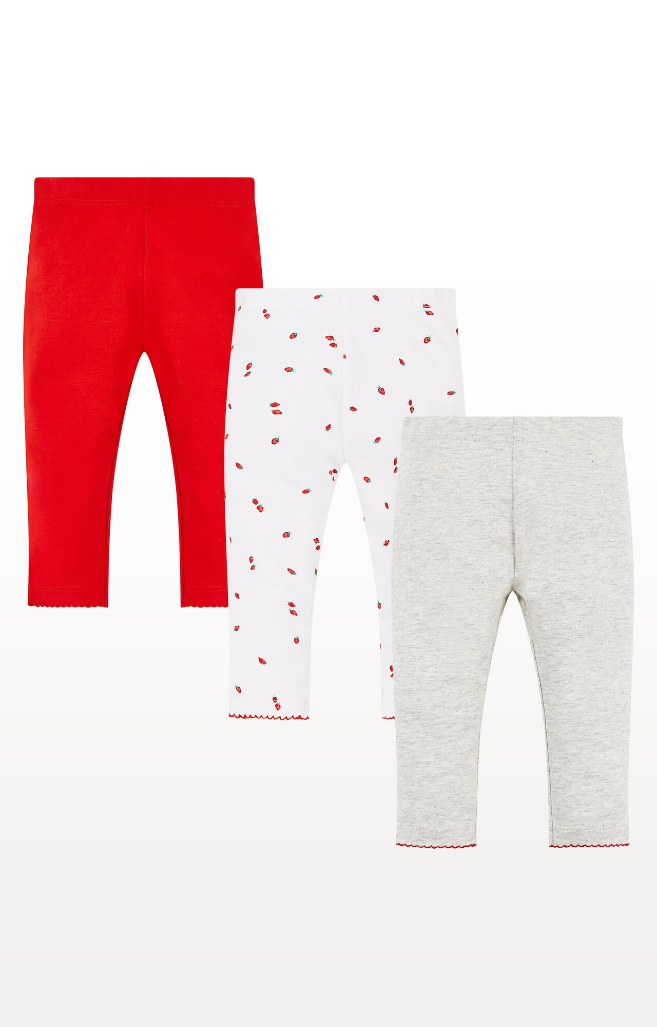 Mothercare | Strawberry, Red and Grey Marl Leggings  Pack of 3