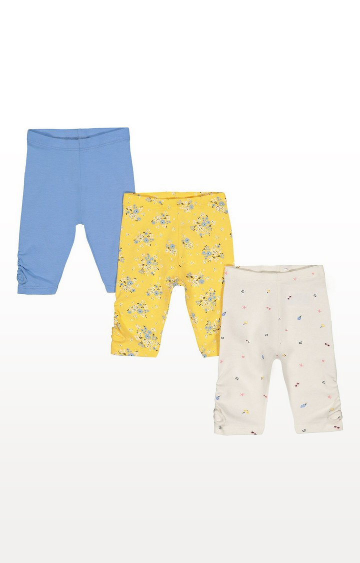 Mothercare   Ditsy Floral, Heart And Blue Crop Leggings  3 Pack
