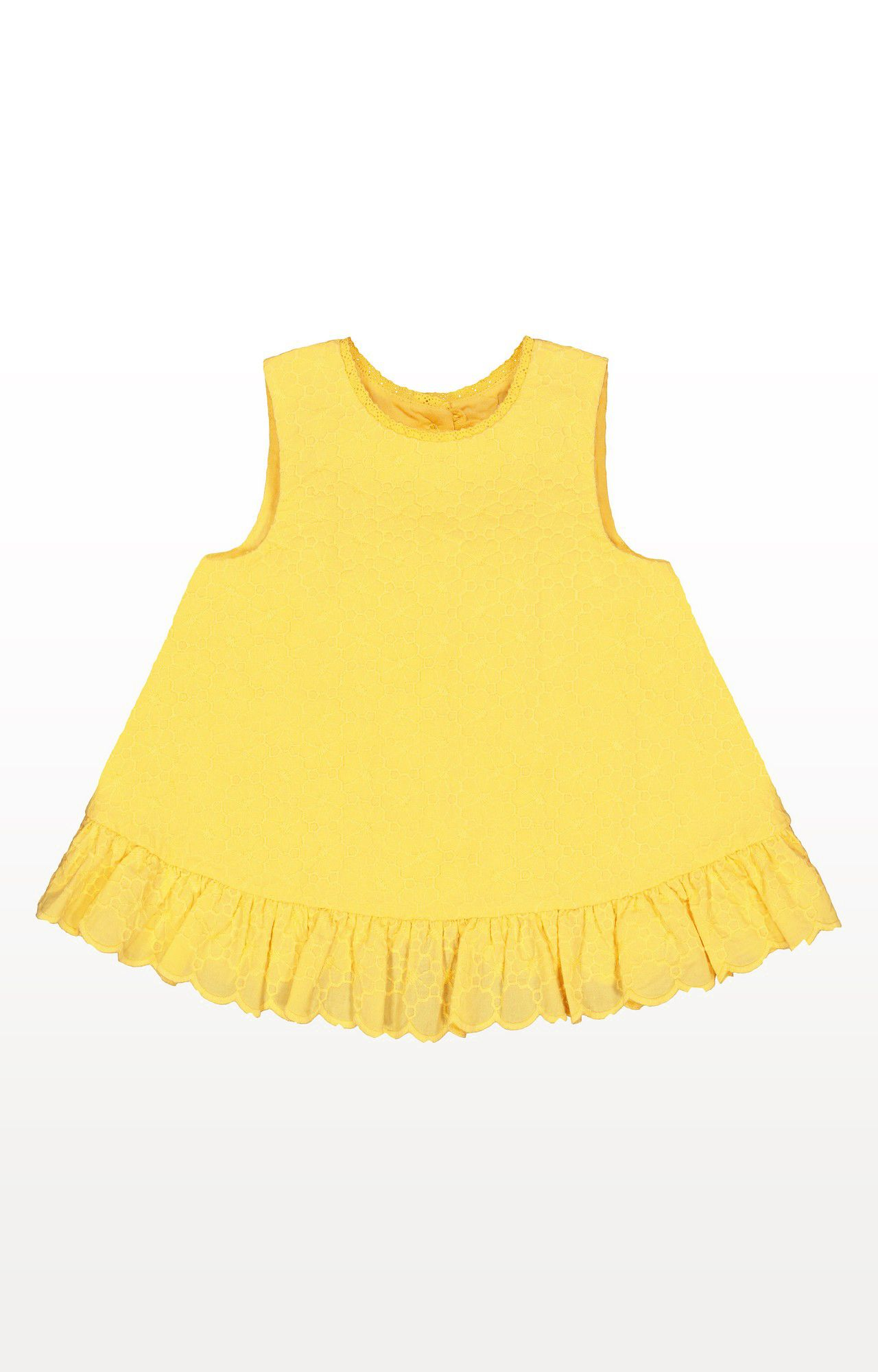 Mothercare | Yellow Printed Broderie Frill Blouse