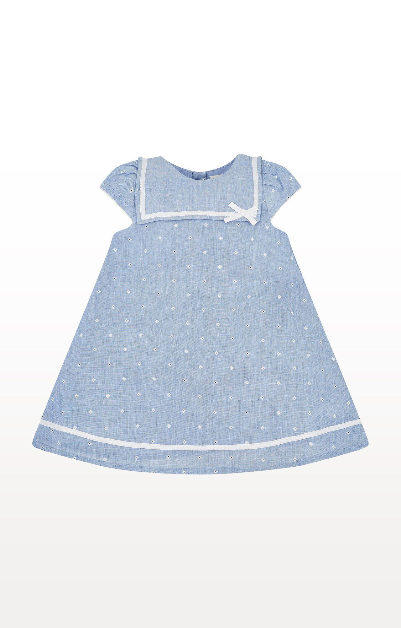 Mothercare | Blue Printed Chambray Floral Sailor Dress