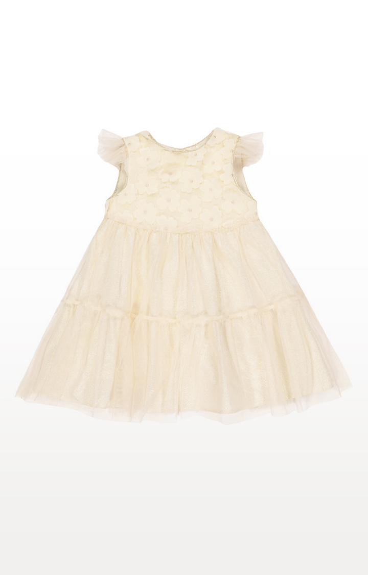 Mothercare | Cream Printed Flower Applique Tiered Occasion Dress