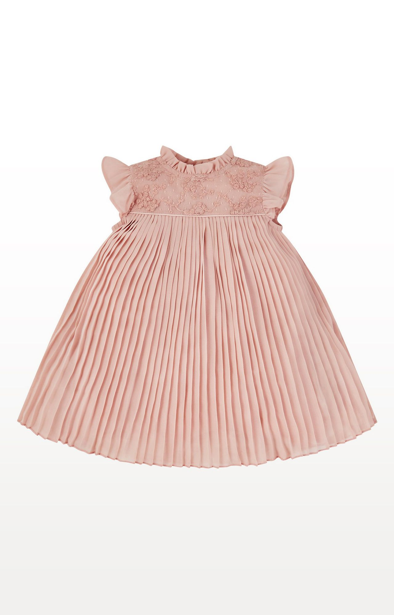 Mothercare | Pink Printed Chiffon Floral Embroidery Pleated Dress