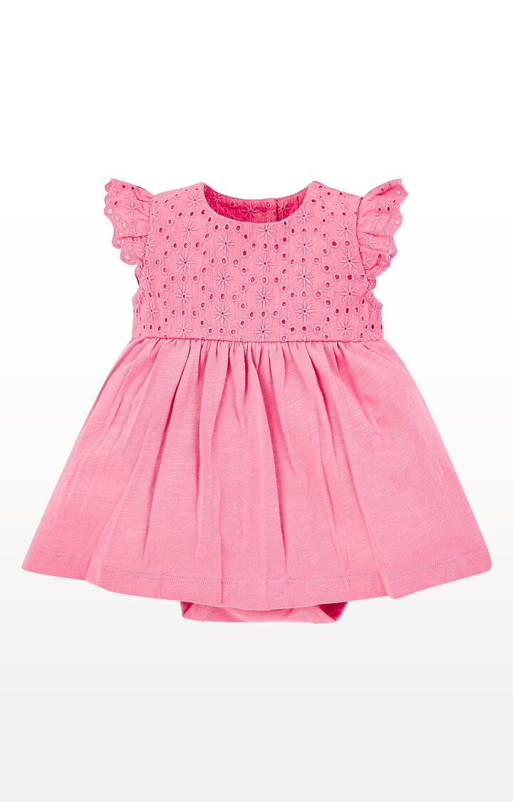 Mothercare | Pink Broderie Romper Dress