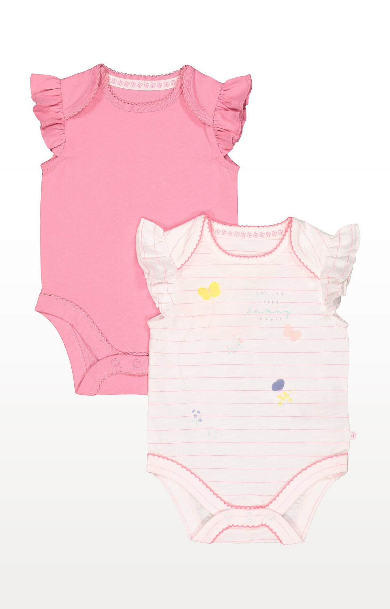 Mothercare | Stripe Butterfly and Pink Bodysuits  Pack of 2