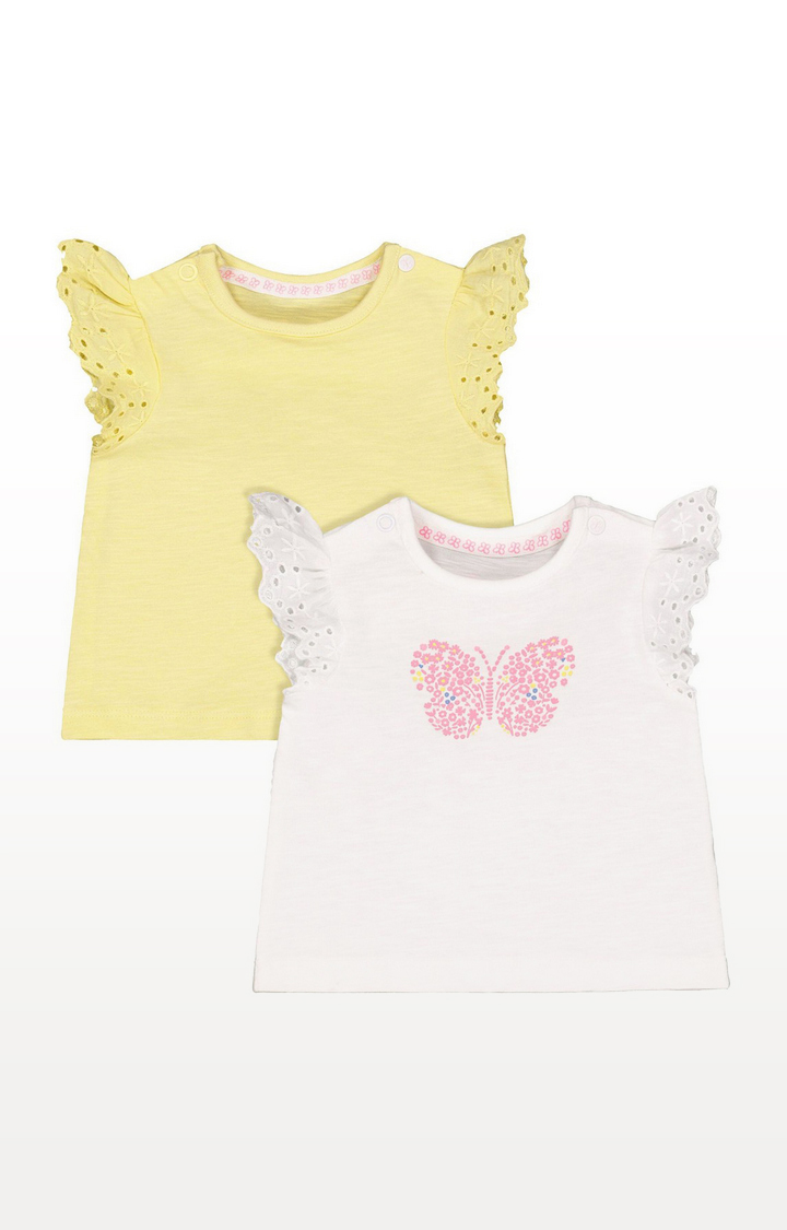 Mothercare | Butterfly And Yellow Frill T-Shirts - 2 Pack