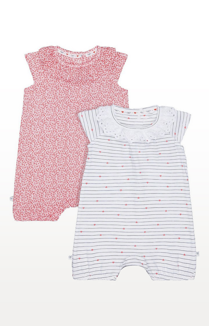 Mothercare | Stripe And Floral Frill Rompers - 2 Pack