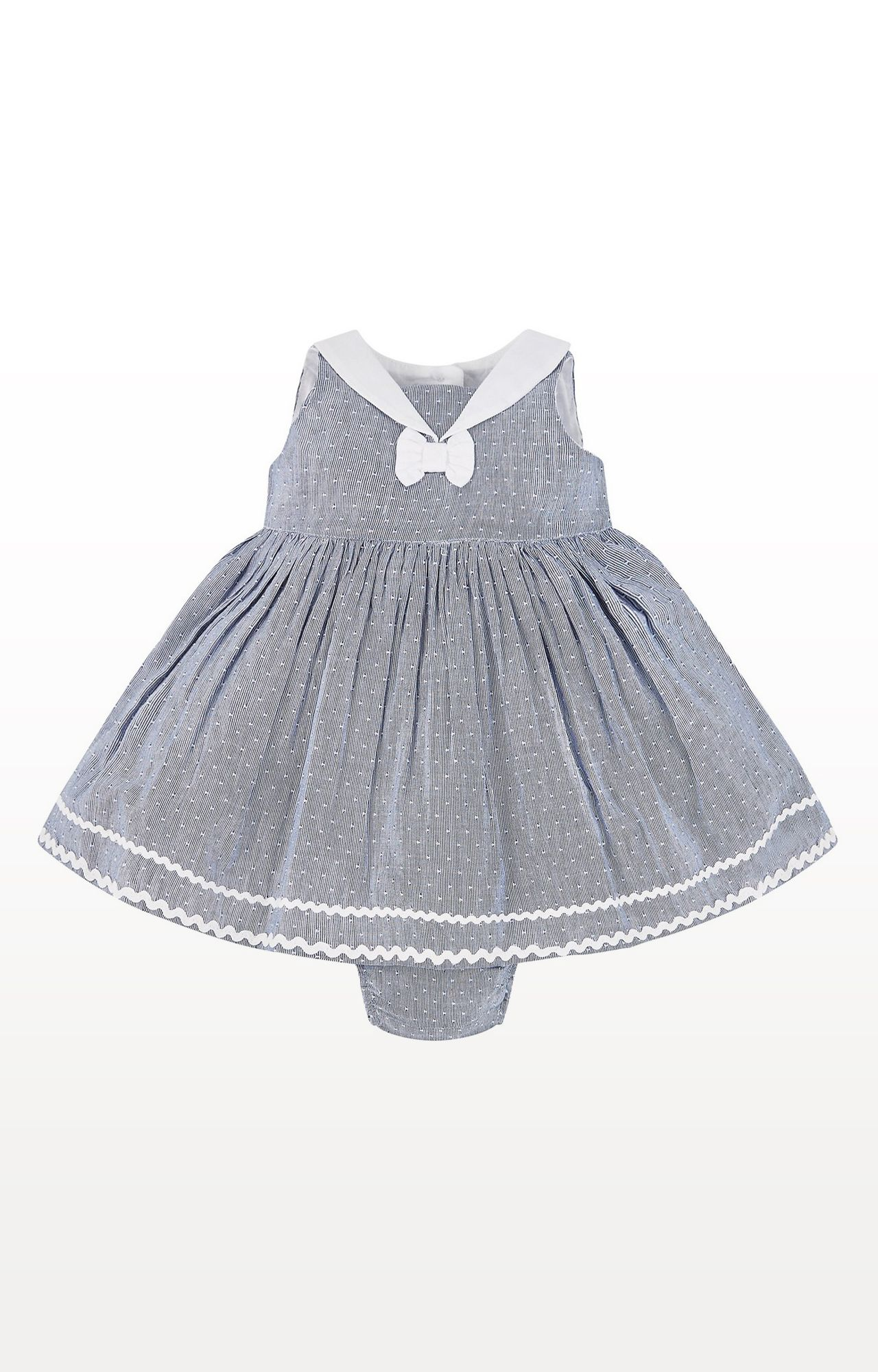 Mothercare   Blue Chambray Striped Dress and Knickers Set