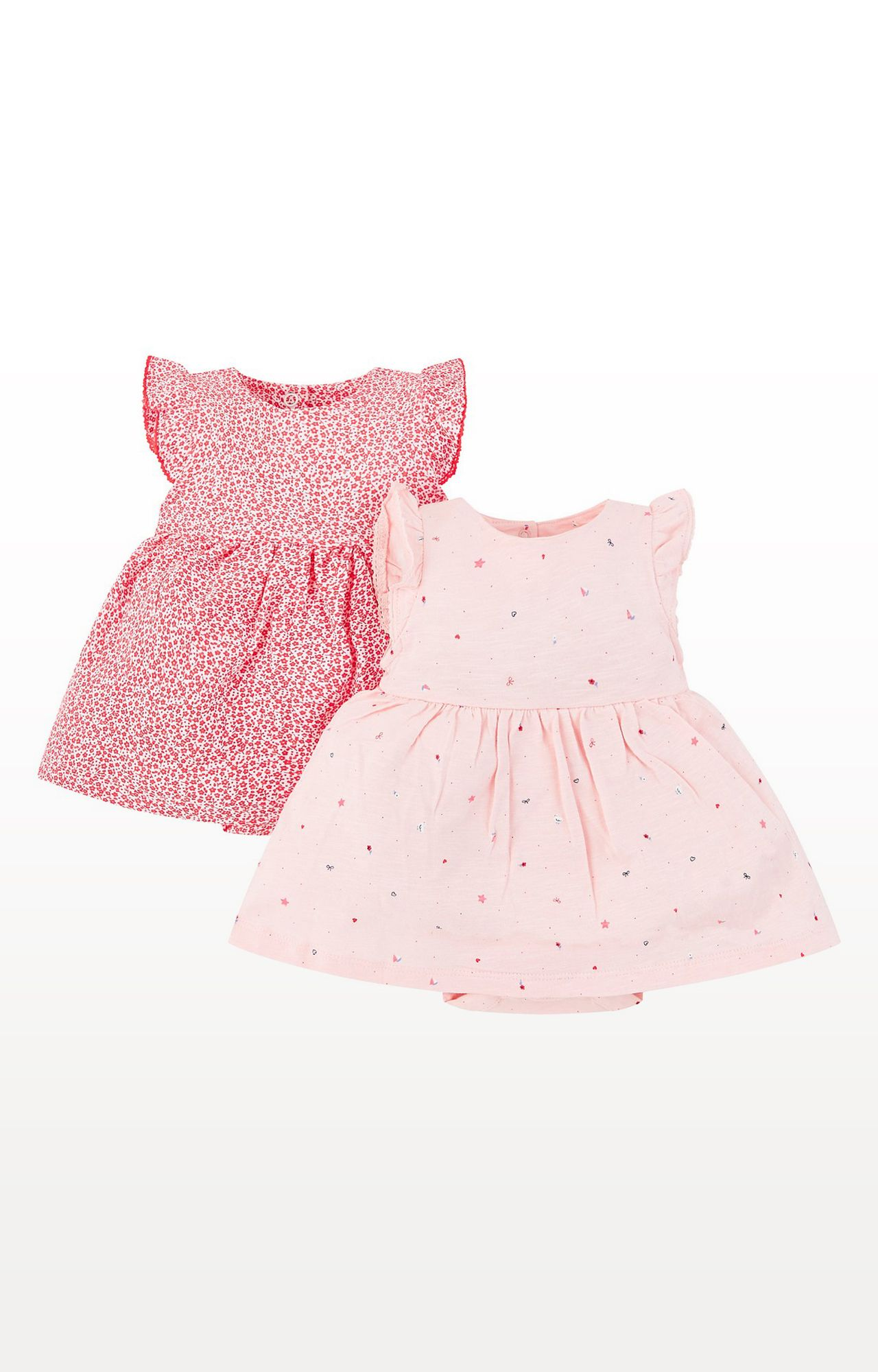 Mothercare | Pink Printed Floral and Seaside Romper Dresses - Pack of 2