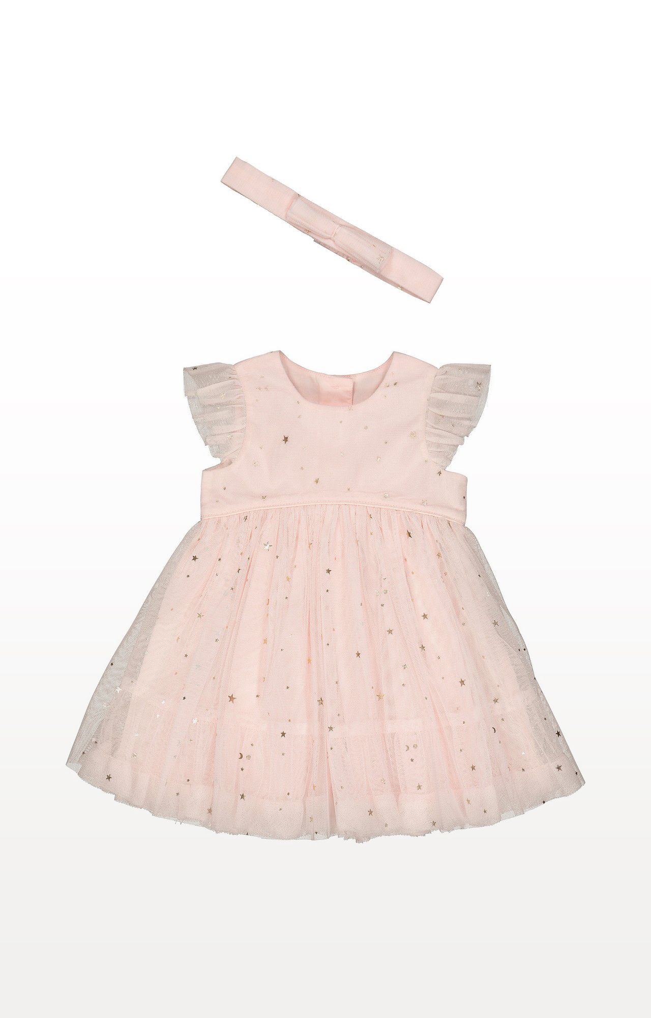 Mothercare   Pink Printed Foil Star Mesh Dress and Headband Set