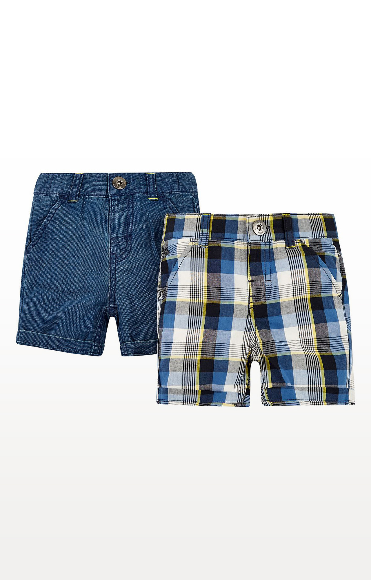 Mothercare | Boys Shorts Denim & Check - Pack Of 2 - Blue - Multicolor