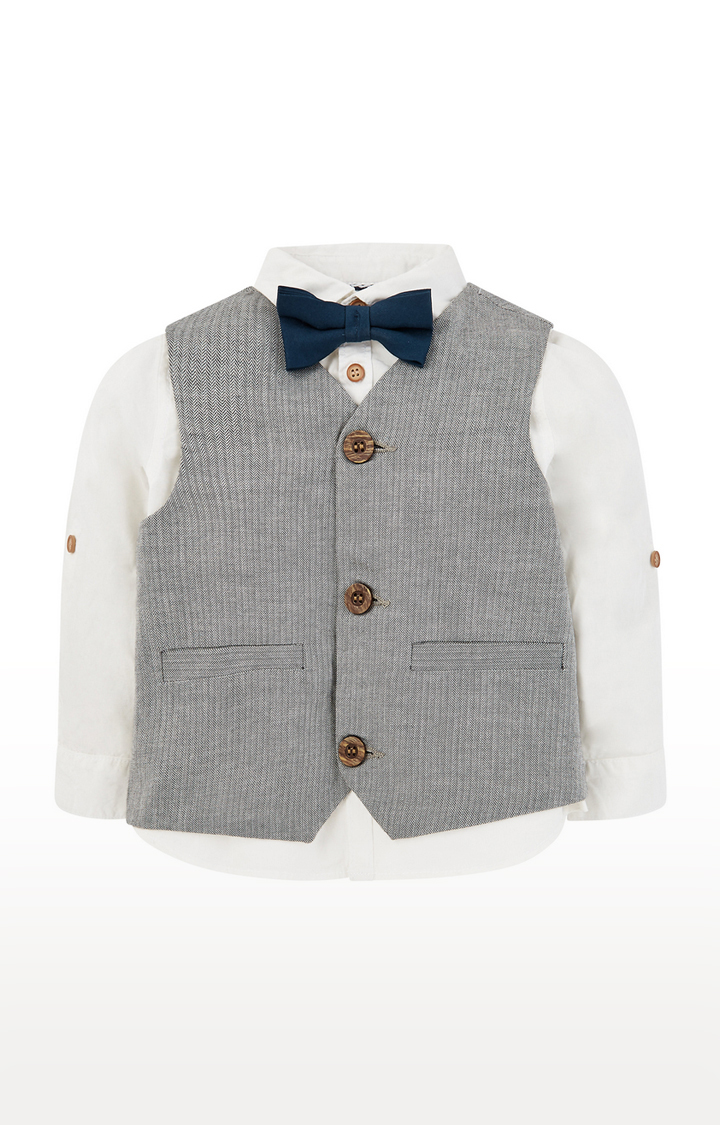 Mothercare | White and Grey Shirt, Waistcoat and Bow Set