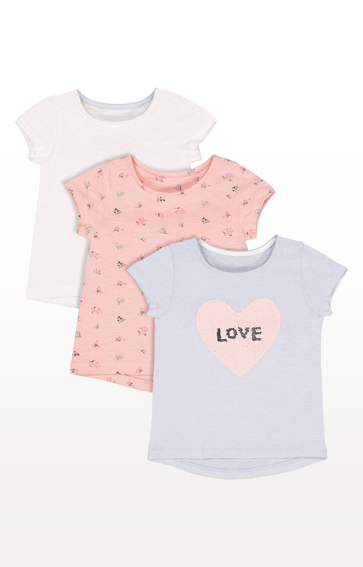 Mothercare | Blue Sequin, White Heart and Floral T-Shirts  Pack of 3