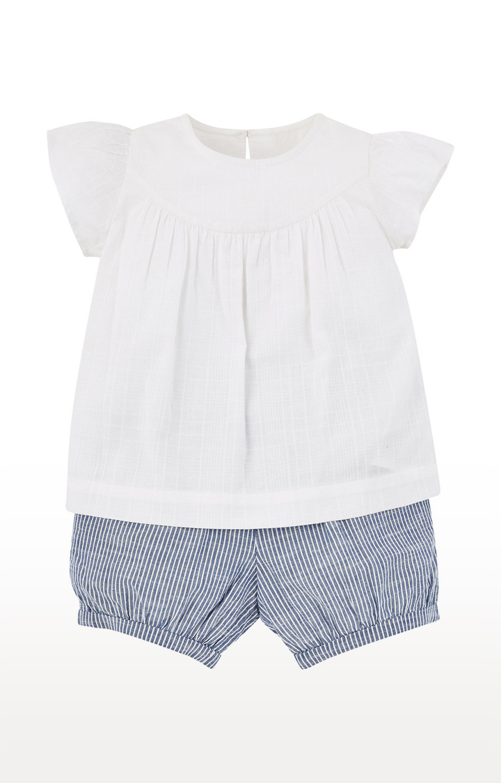 Mothercare | White and Blue Printed Twin Sets