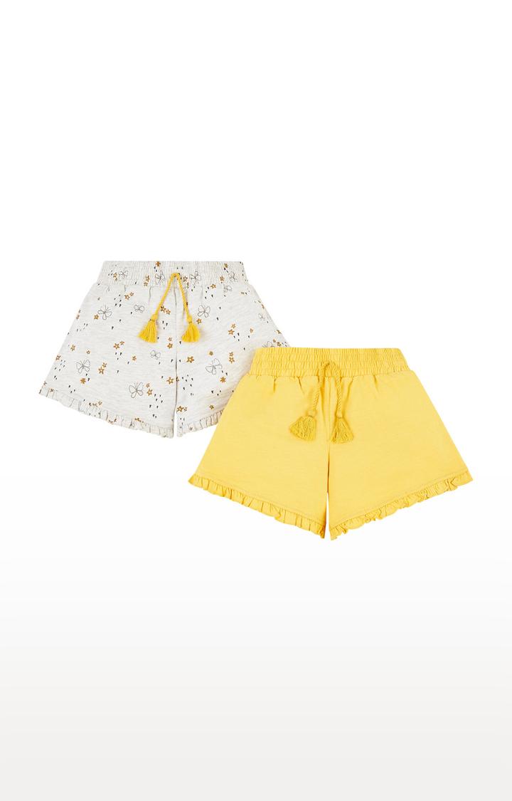 Mothercare | Grey and Yellow Printed Casual Shorts