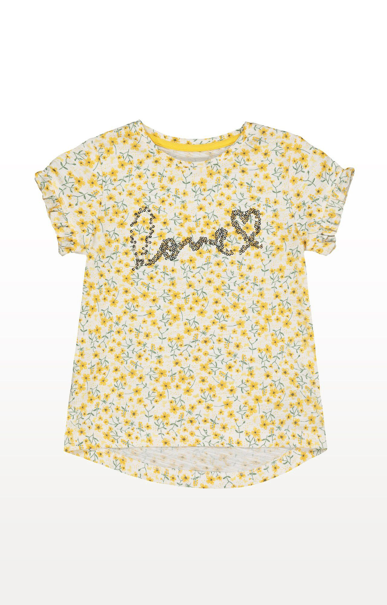 Mothercare | Yellow Printed Flower Sequin T-Shirt