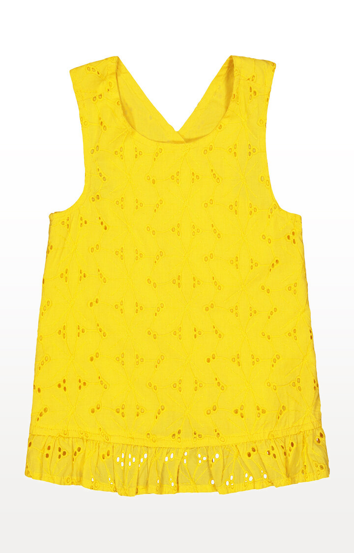 Mothercare | Yellow Frill Hem Broderie Blouse