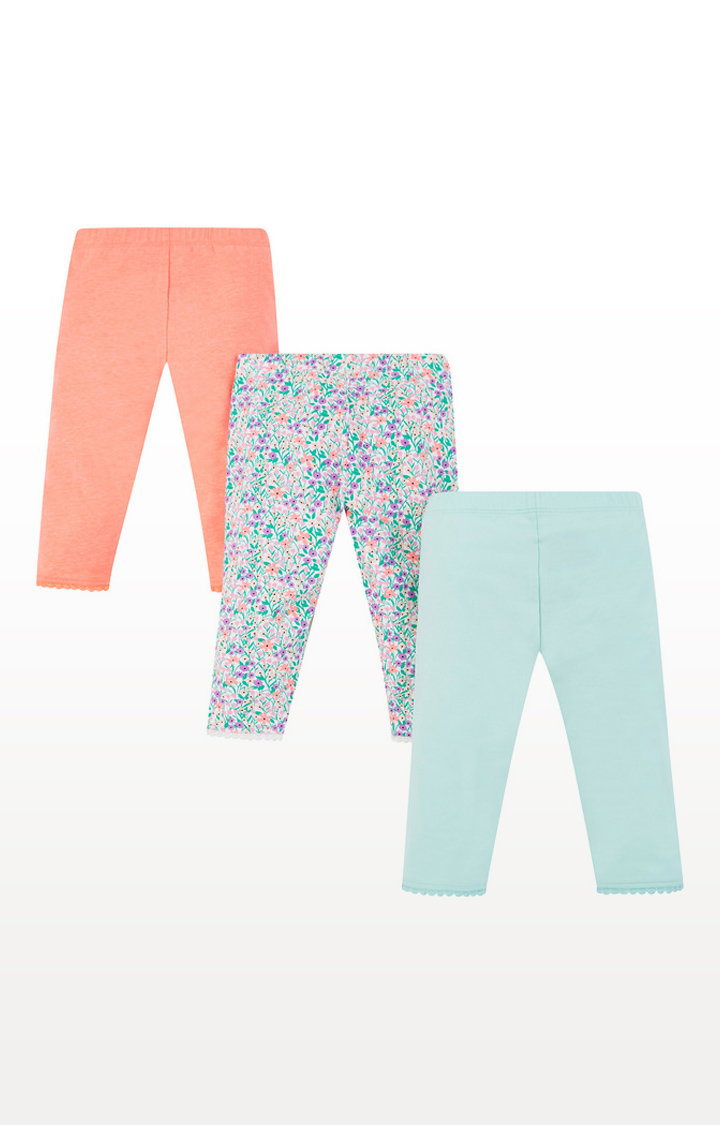 Mothercare | Coral, Floral And Blue Cropped Leggings - 3 Pack