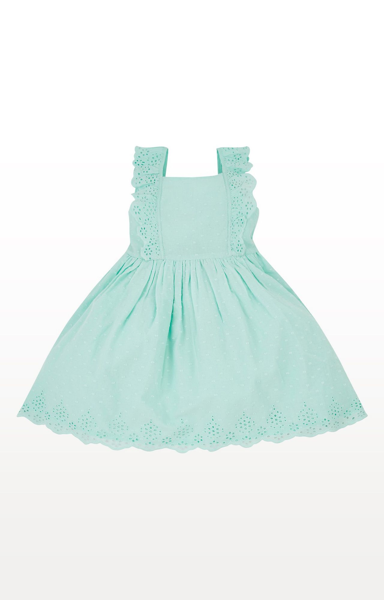 Mothercare   Turquoise Printed Broderie Dress