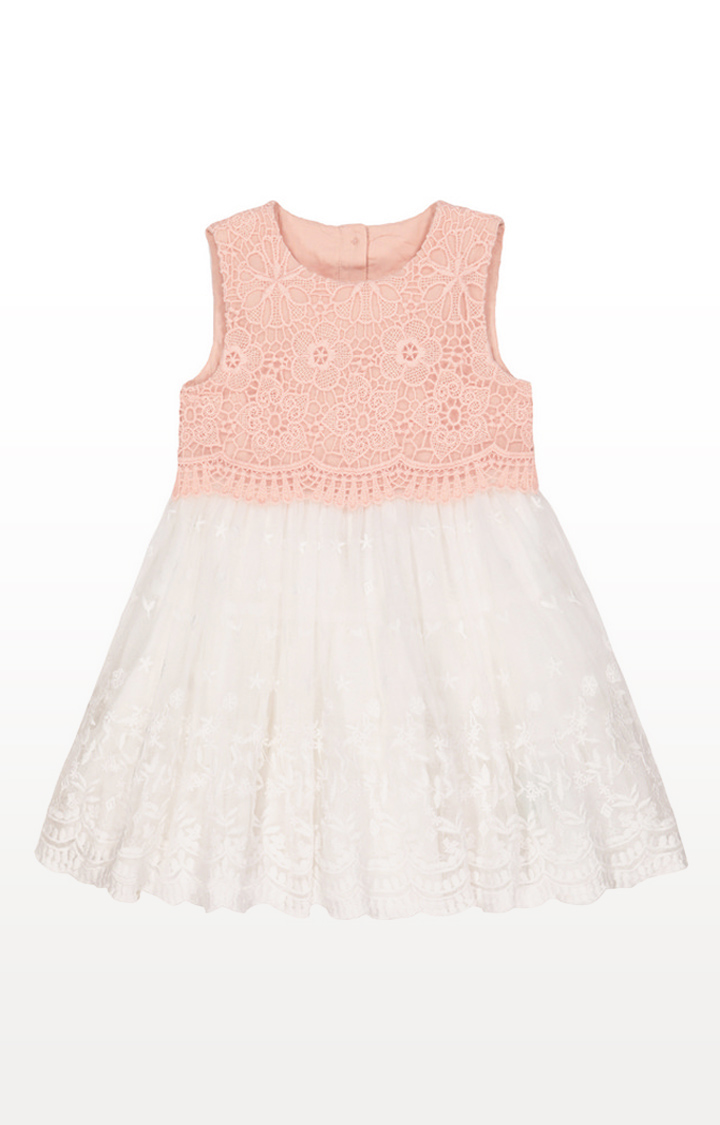 Mothercare | Pink And White Broderie Lace Occasion Dress