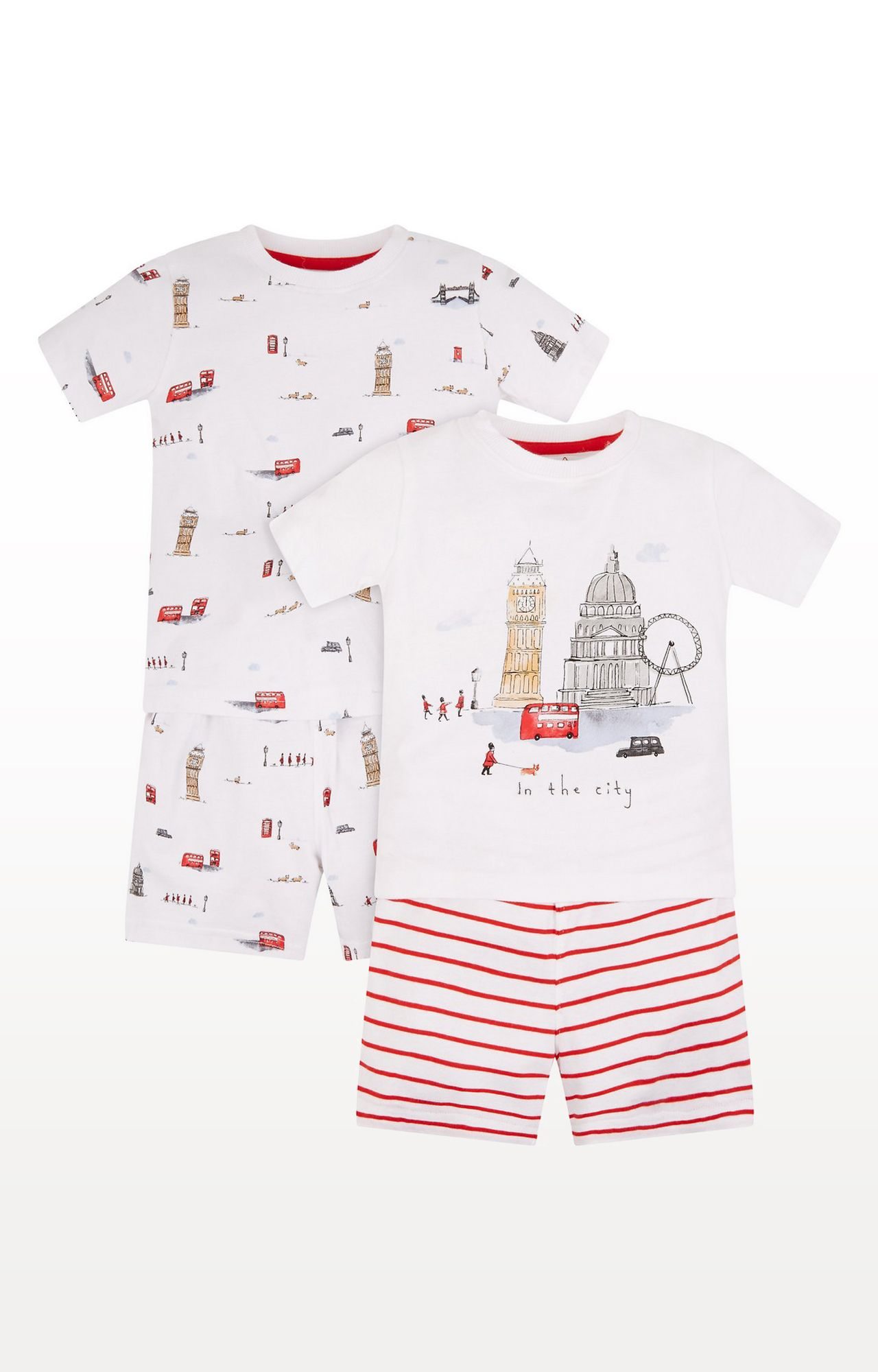 Mothercare | White Printed London Landmarks Shortie Pyjamas - Pack of 2