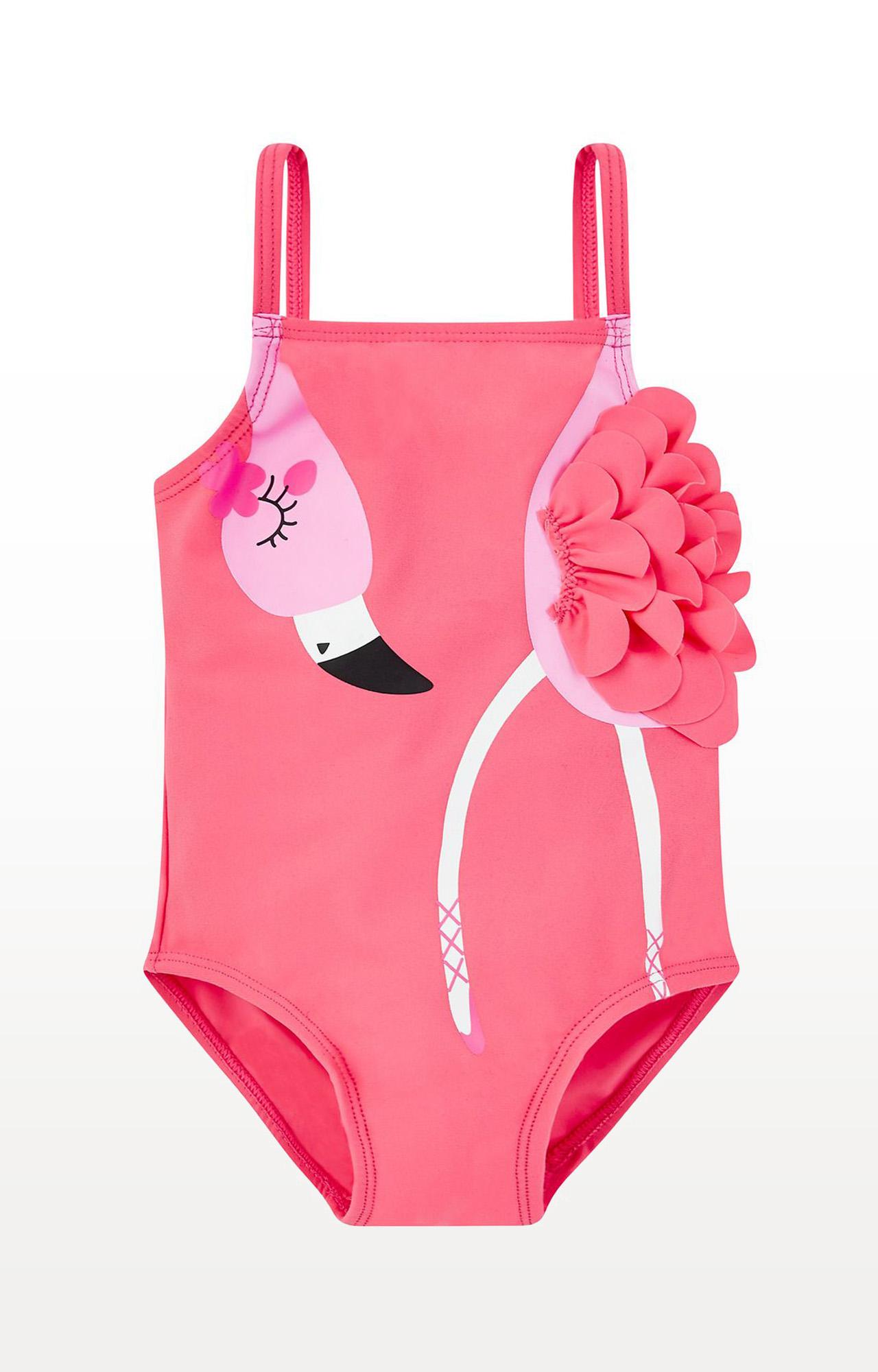 Mothercare | Pink Printed Flamingo Ballerina Swimsuit