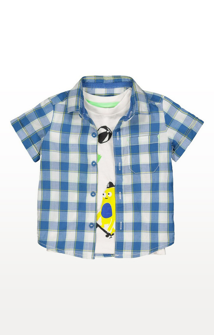 Mothercare | Blue Checked Shirt And Monster T-Shirt Set