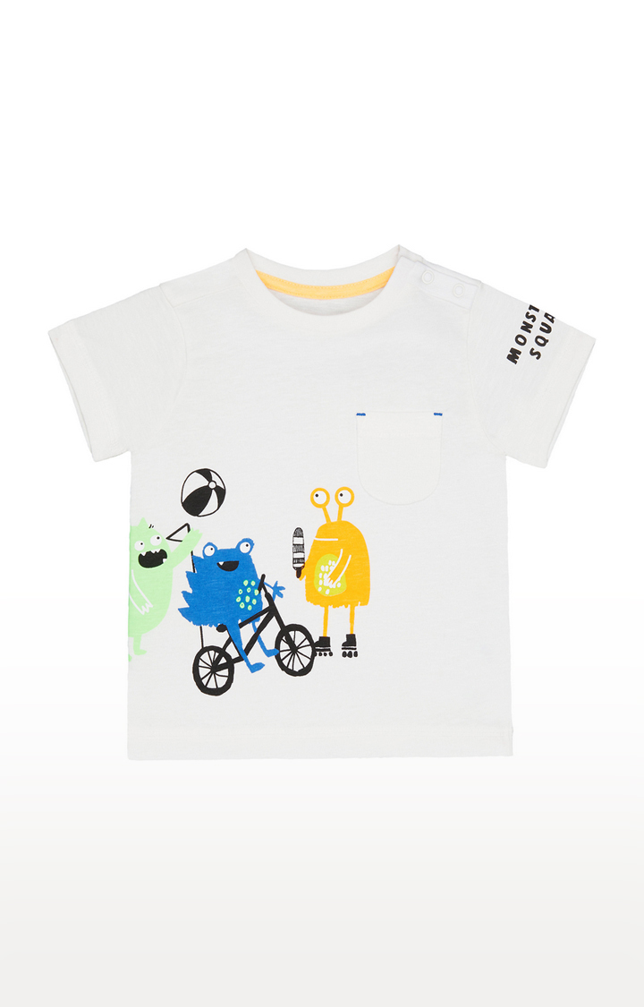 Mothercare   White Printed Casual Tees
