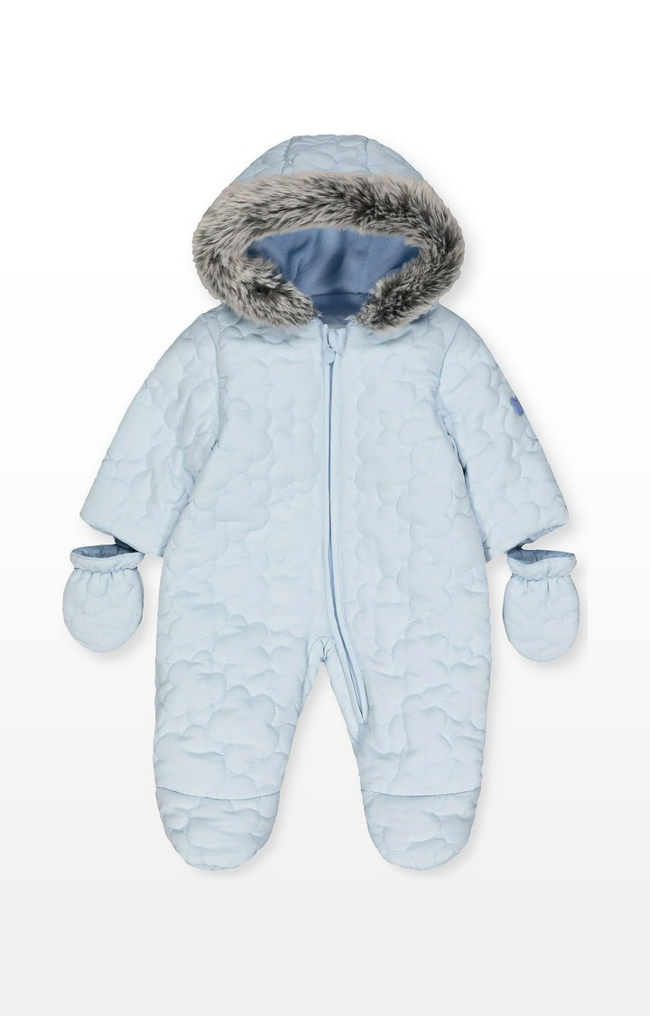 Mothercare | My First Blue Cloud Quilted Snowsuit