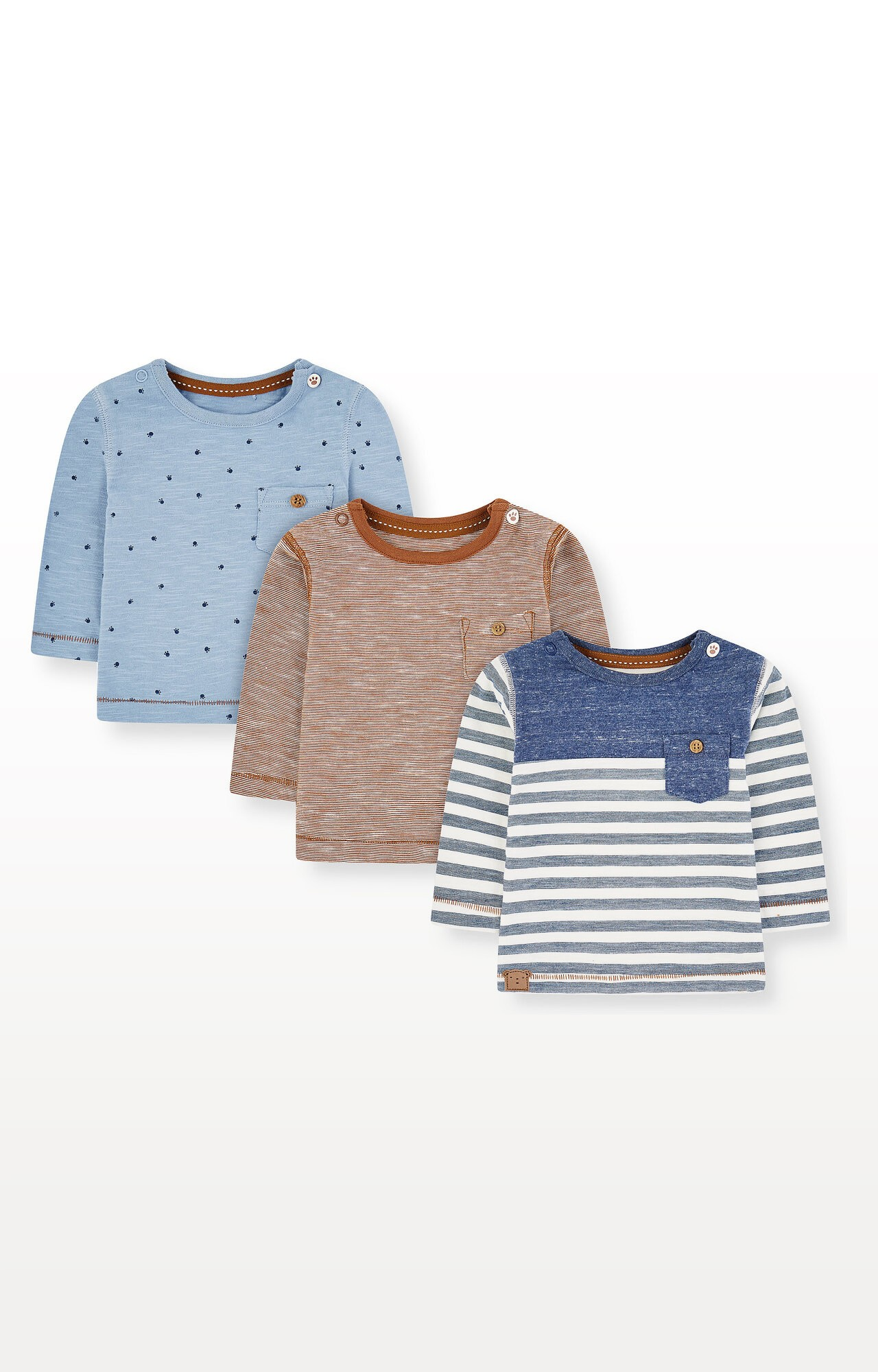 Mothercare | Blue Stripe, Paws and Brown T-Shirts - Pack of 3