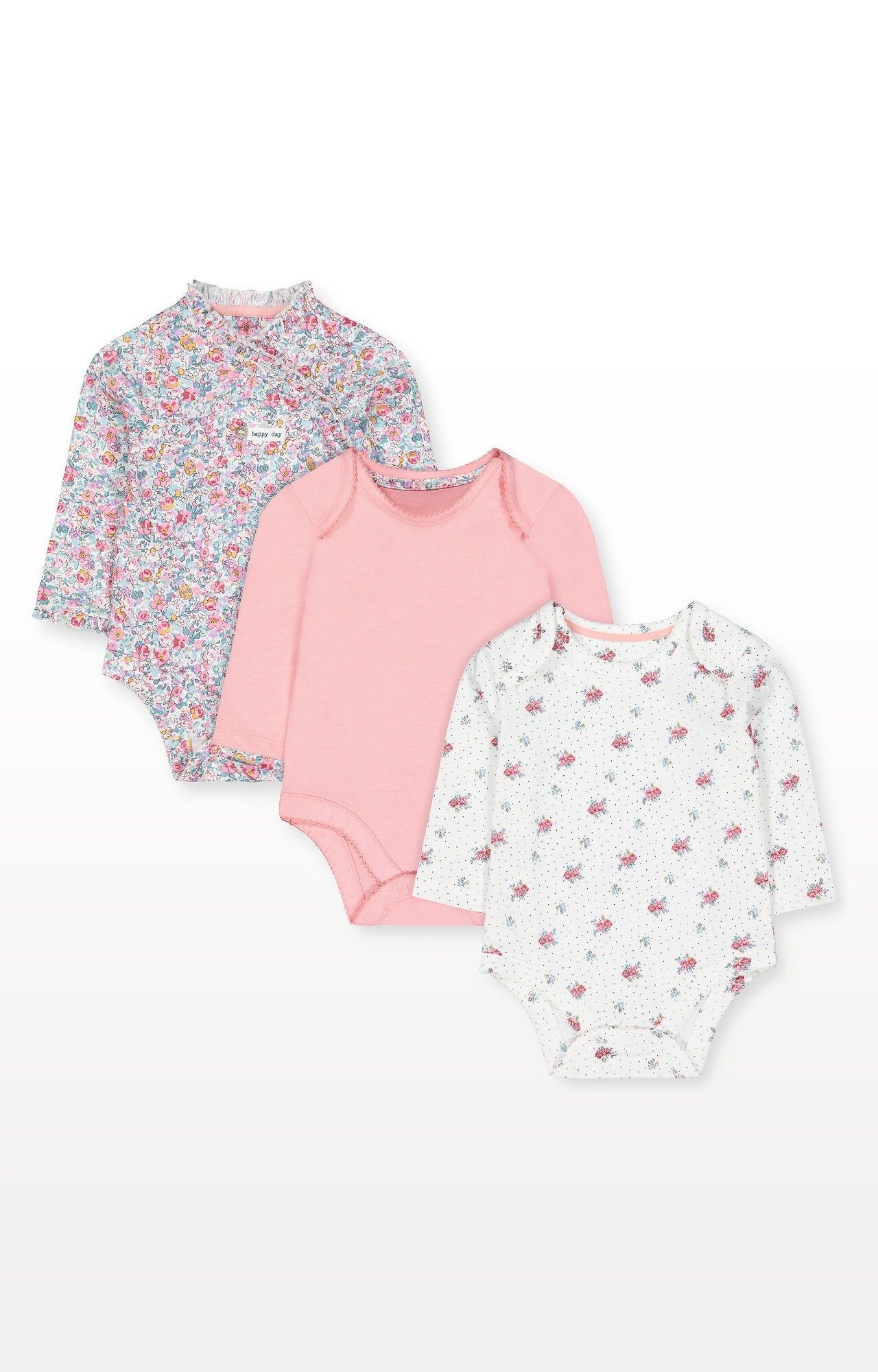 Mothercare | Floral and Pink Wrap Bodysuits - Pack of 3