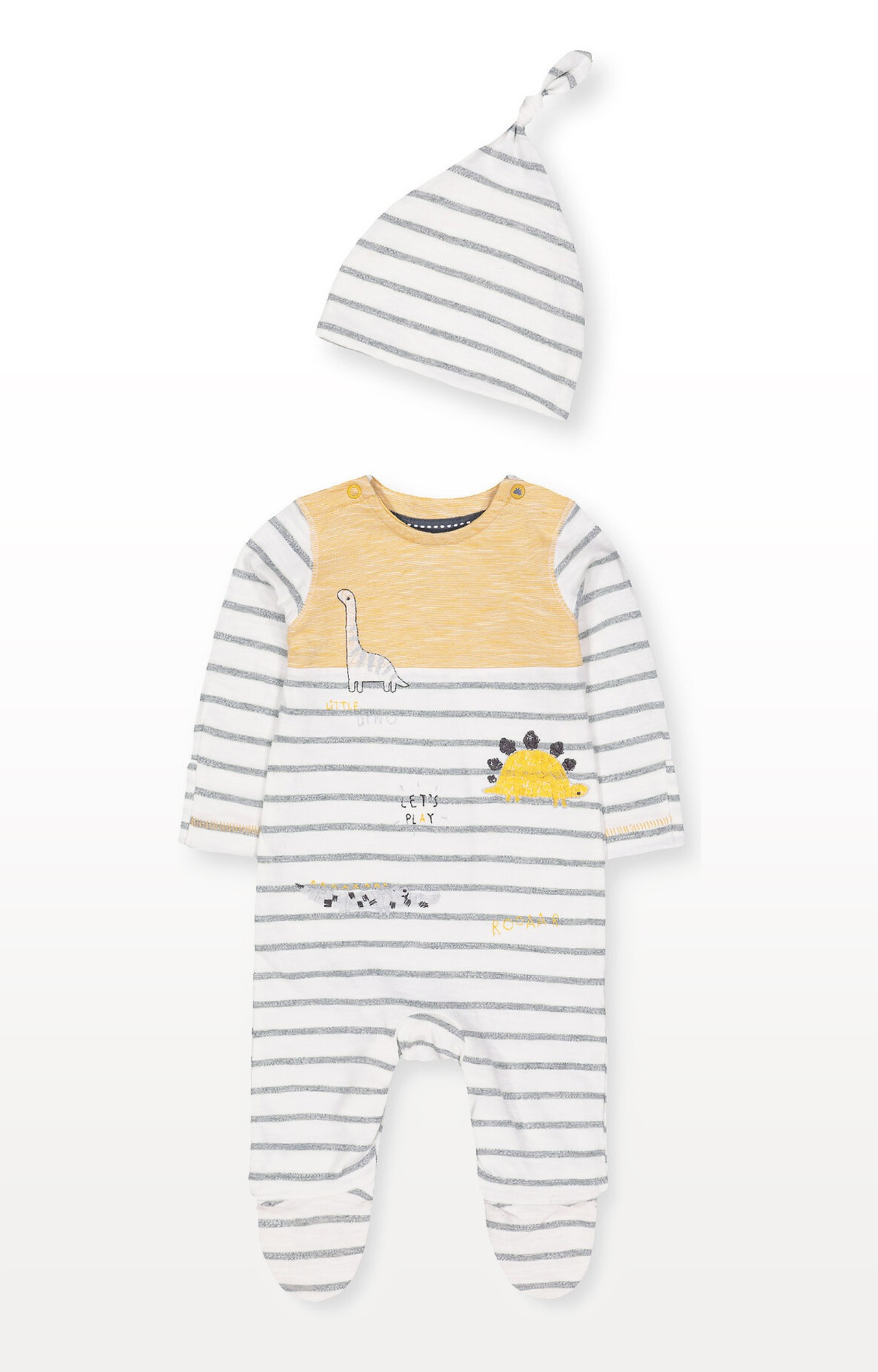 Mothercare | Stripe Dinosaur All In One and Hat Set