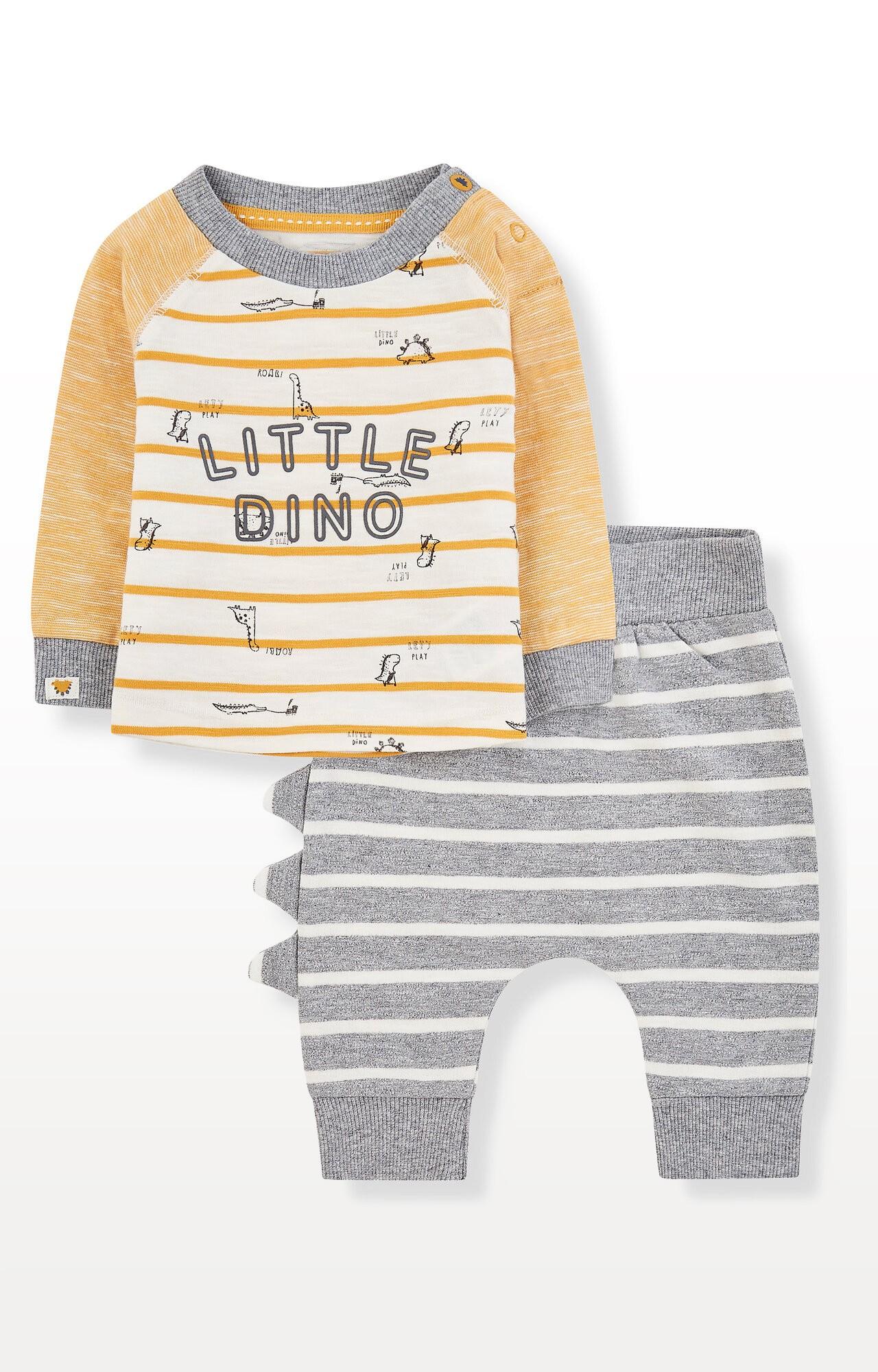 Mothercare | Stripe Dinosaur T-Shirt and Joggers Set