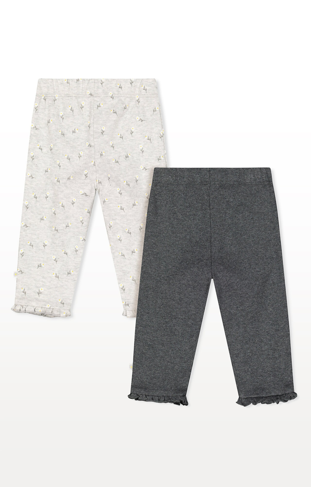 Mothercare | Grey Daisy and Rib Frill Leggings - Pack of 2