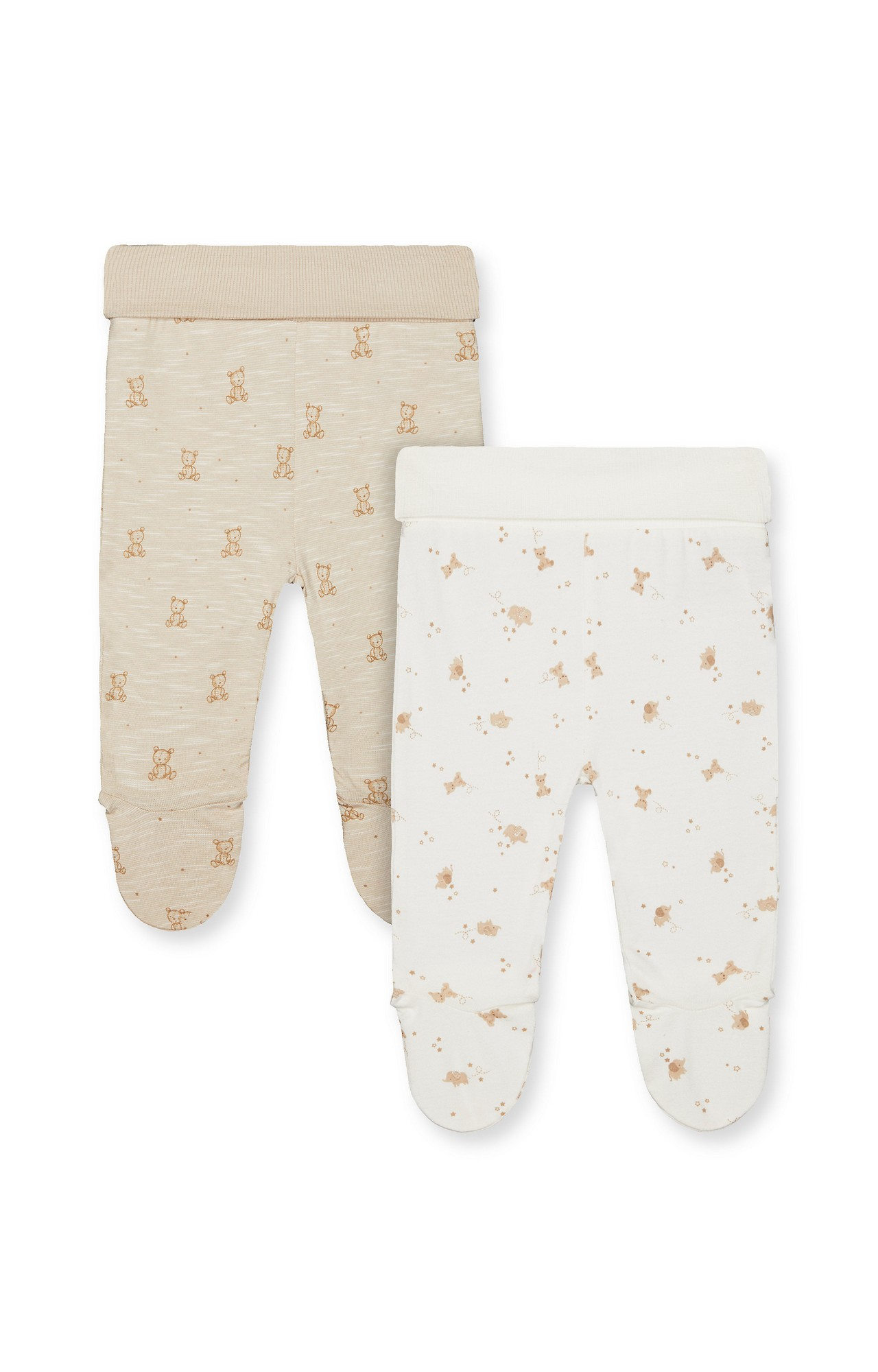 Mothercare | Oatmeal Printed Casual Pants - Pack of 2