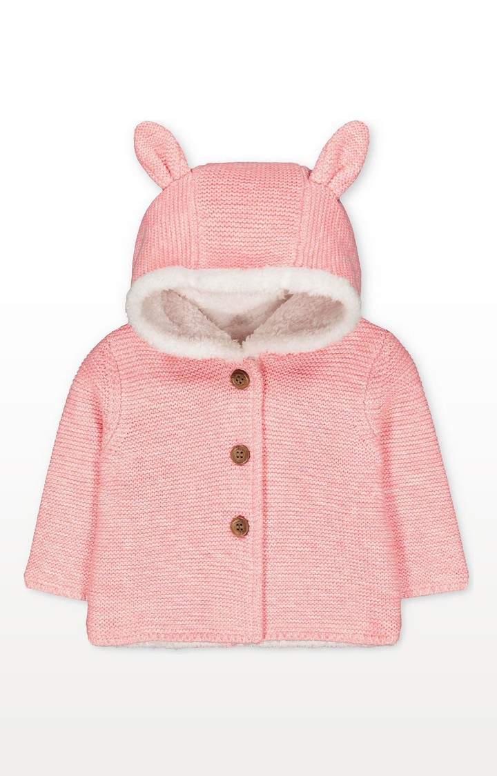Mothercare | My First Pink Bunny Borg-Lined Knit Cardigan With Hood