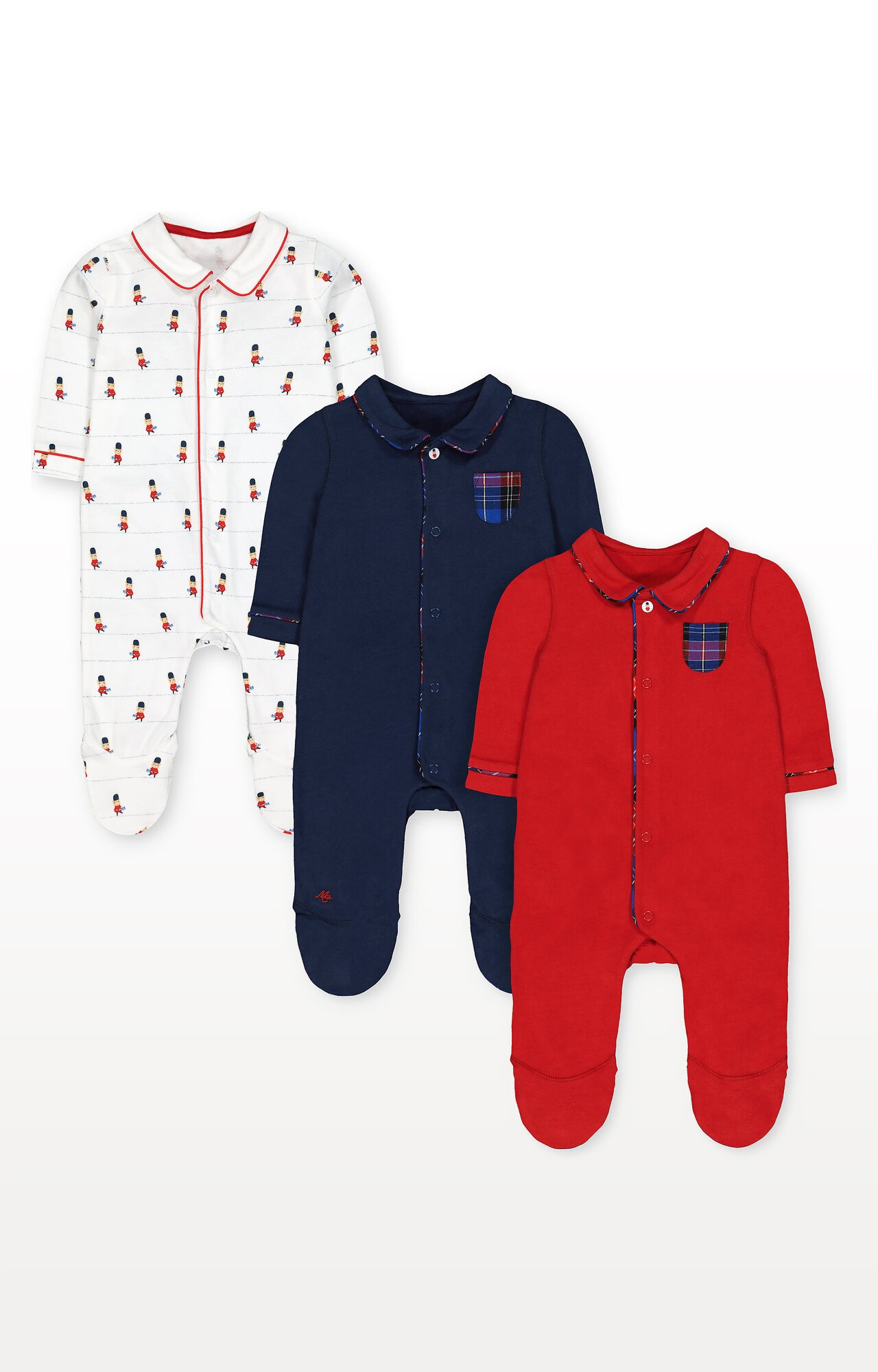 Mothercare | Bear Guards, Navy and Red Collared Sleepsuits - Pack of 3