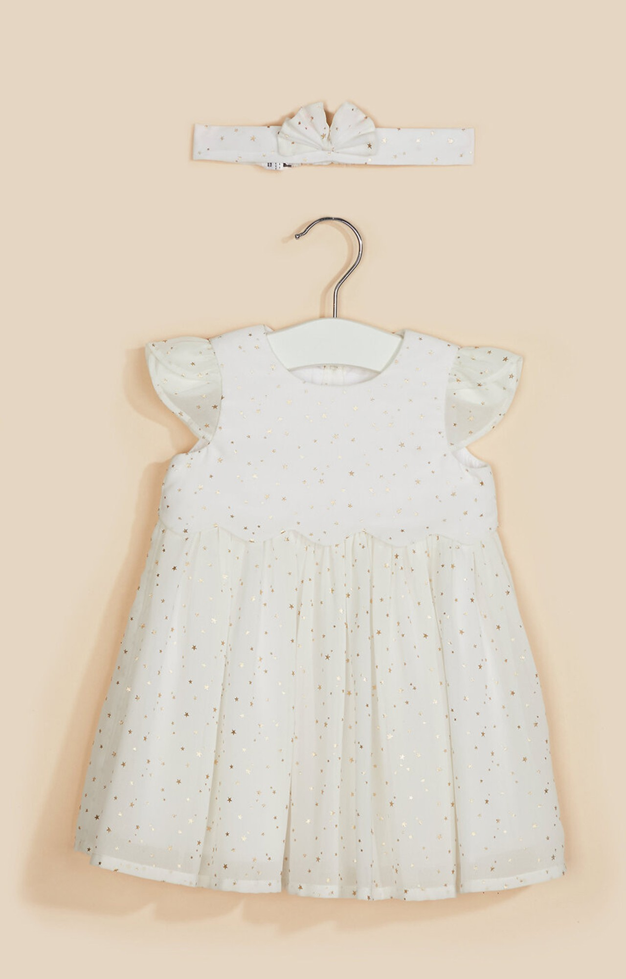 Mothercare | White Gold-Star Dess and Headband Set